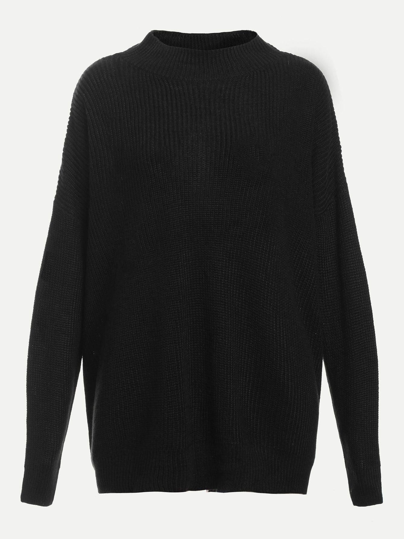 V Cut Out Back Dropped Shoulder Sweater