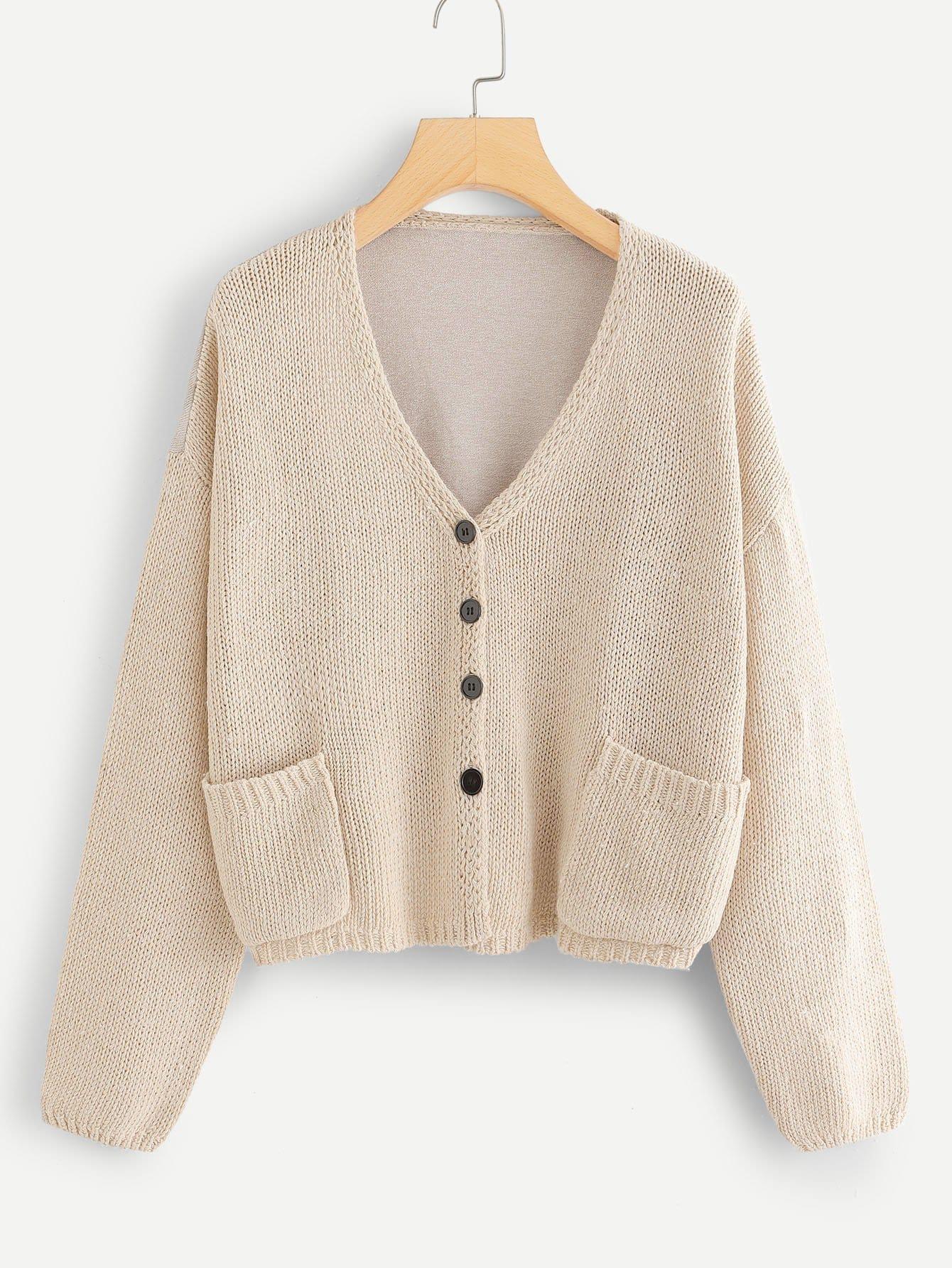 Купить Карманный патч Cut And Sew Sweater Coat, null, SheIn