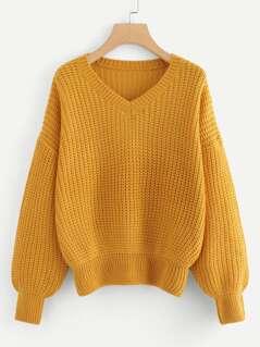 V Neck Drop Shoulder Sweater