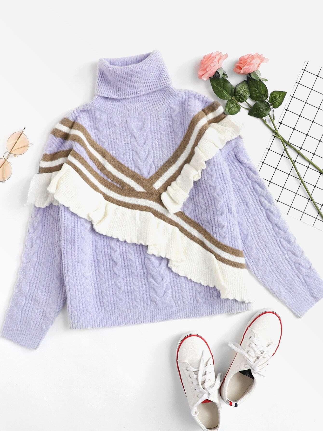Купить Ruffle Embellished Mixed Knit Jumper, null, SheIn