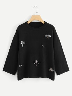 3D Dragonfly Applique Sweater