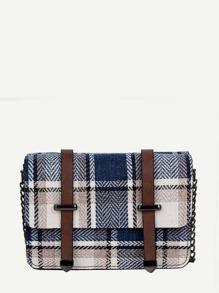 Plaid Detail Chain Bag
