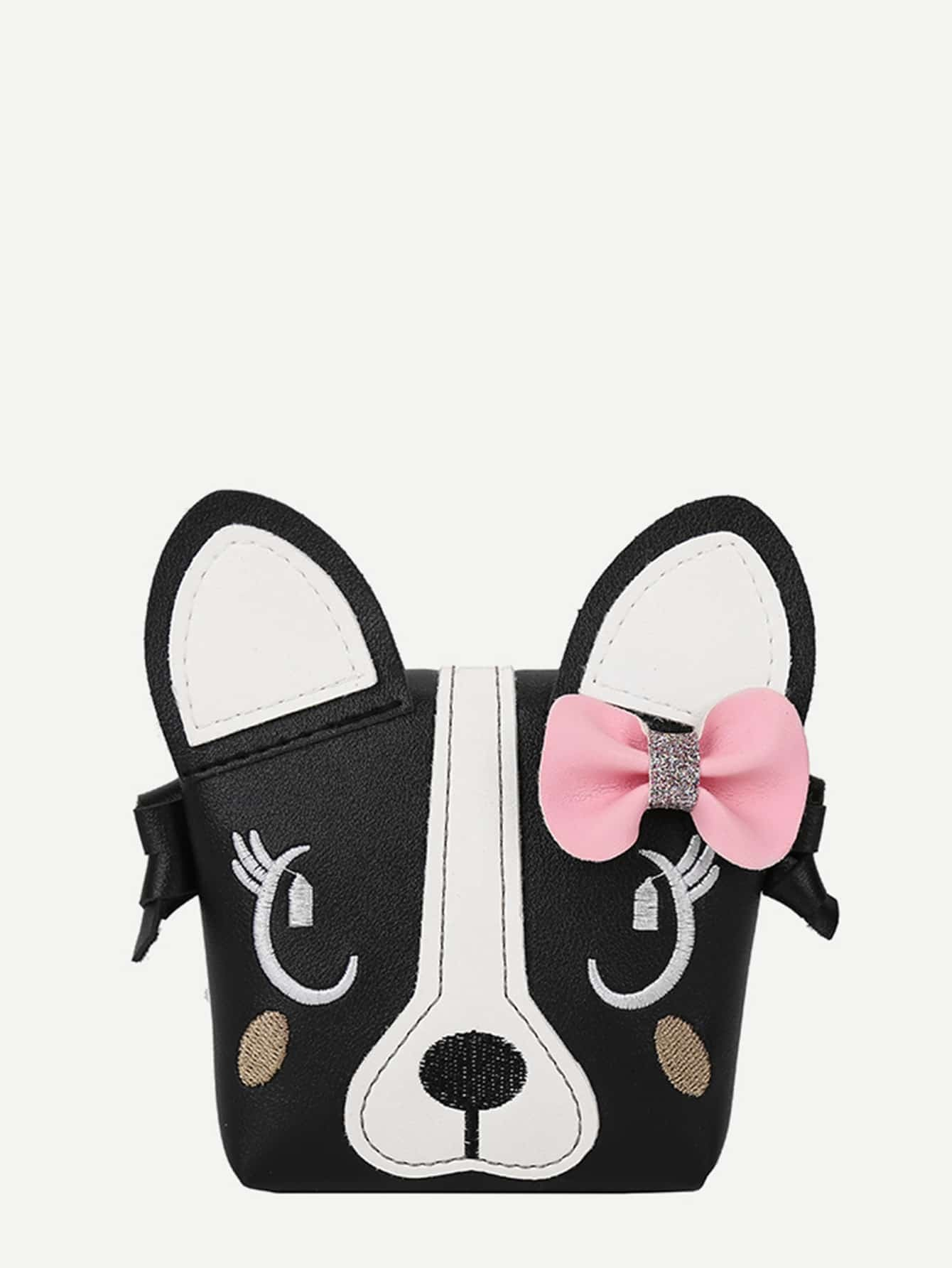 Embroidery Decor Bow Cartoon Shoulder Bag cartoon decor chain bag