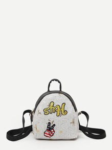 Embroidery Decor Sequin Backpack