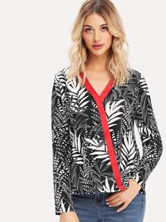 Contrast Binding Jungle Leaf Print Blouse