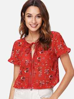 Frill Cuff Calico Print Top