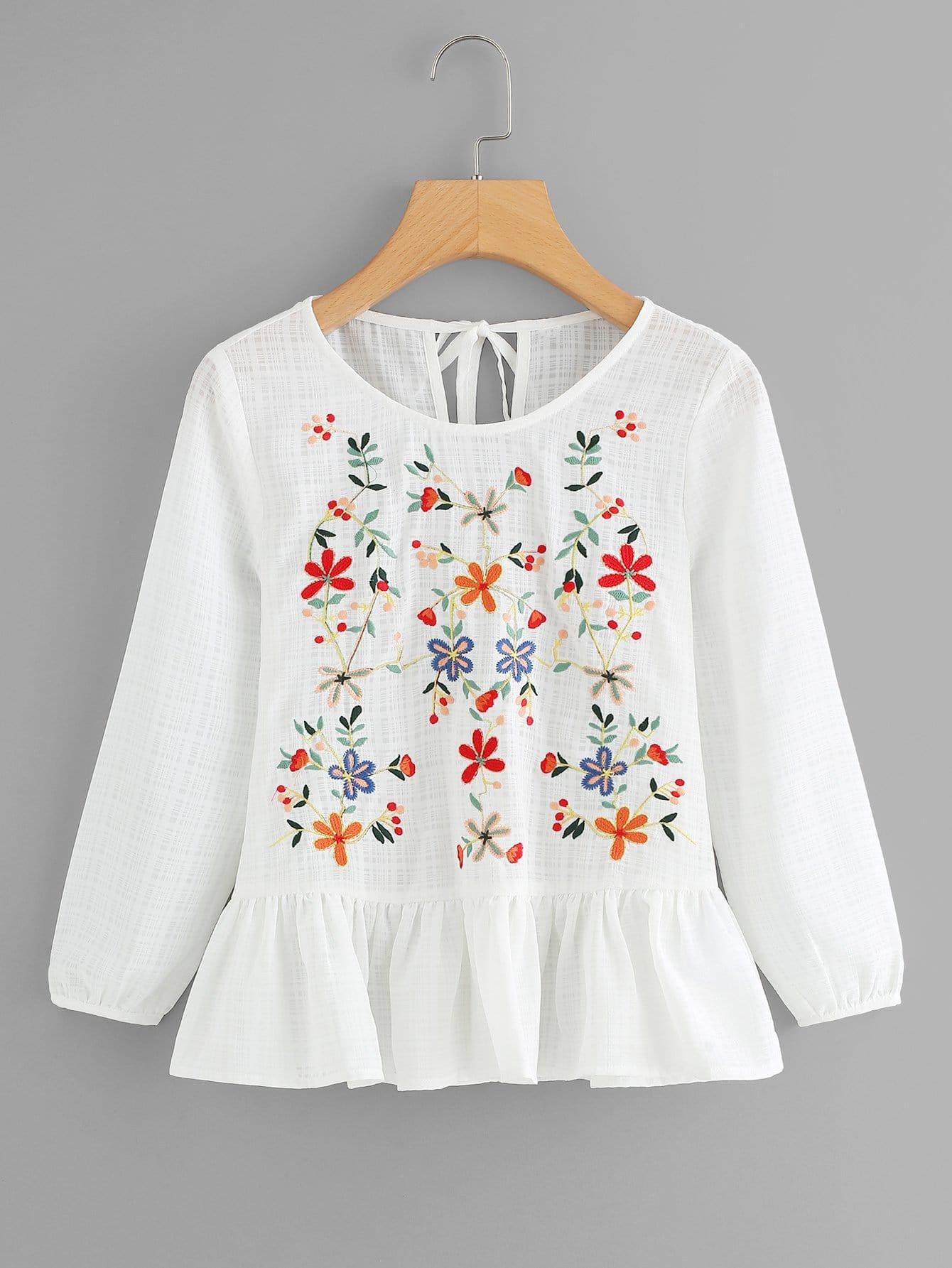 Slit Knot Back Botanical Embroidery Top botanical embroidery zip back skirt