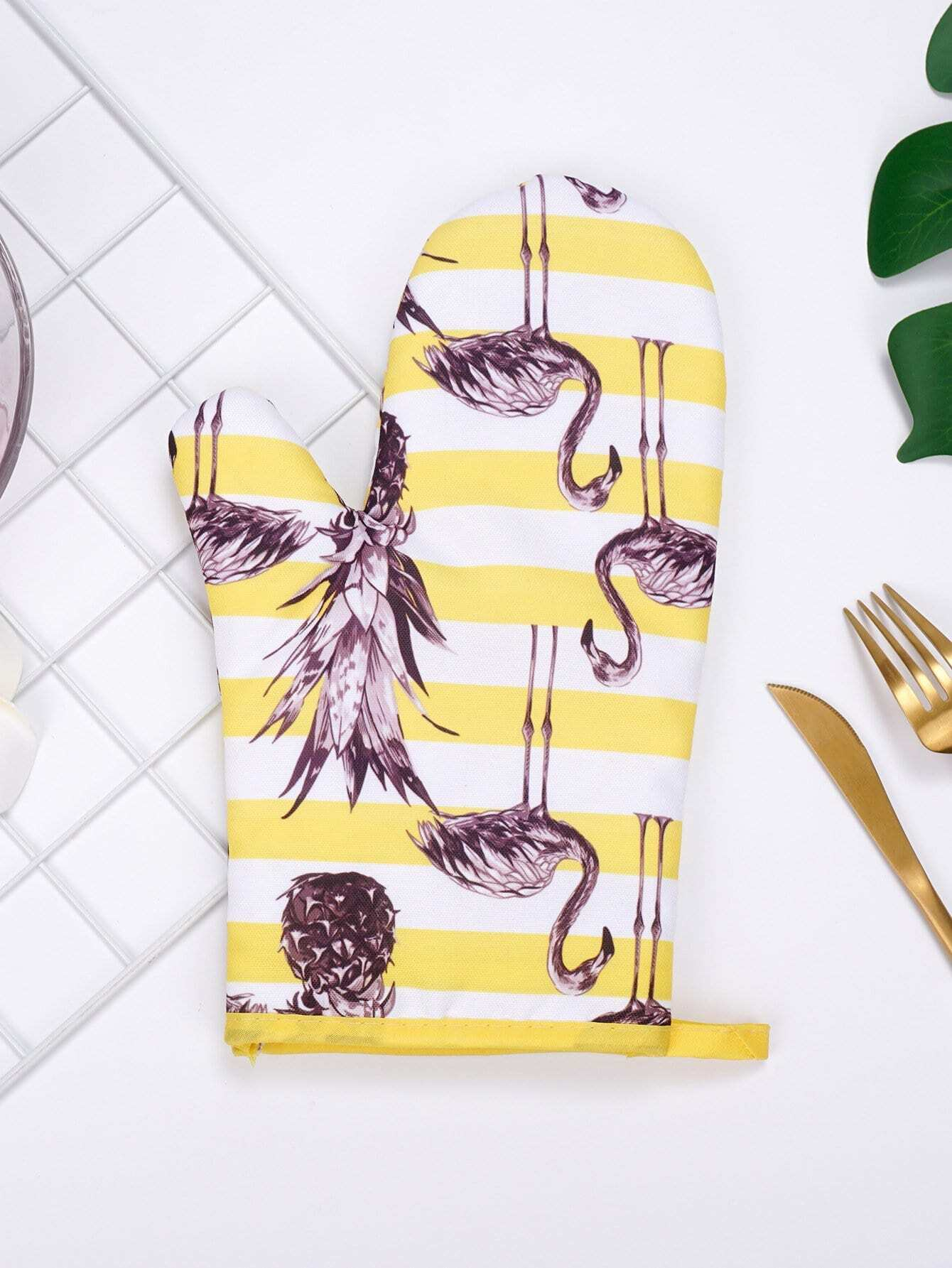Flamingo Print Striped Oven Glove alex clark rooster double oven glove