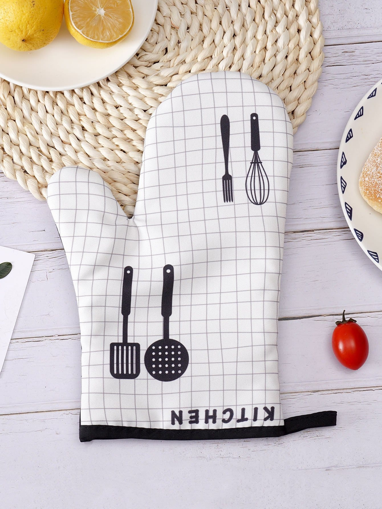 Grid Print Oven Glove 1pc alex clark rooster double oven glove