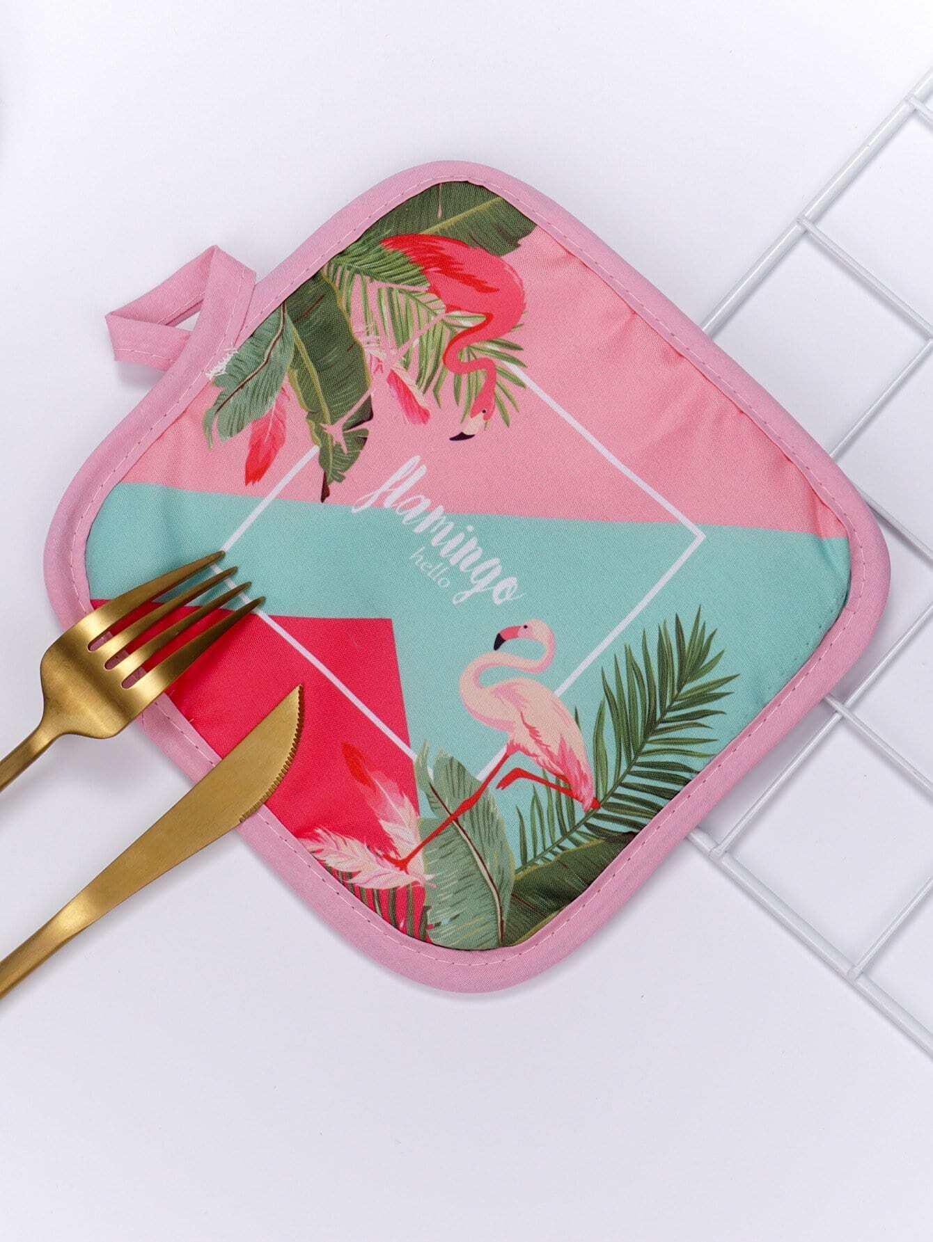 Flamingo Print Colorblock Table Mat