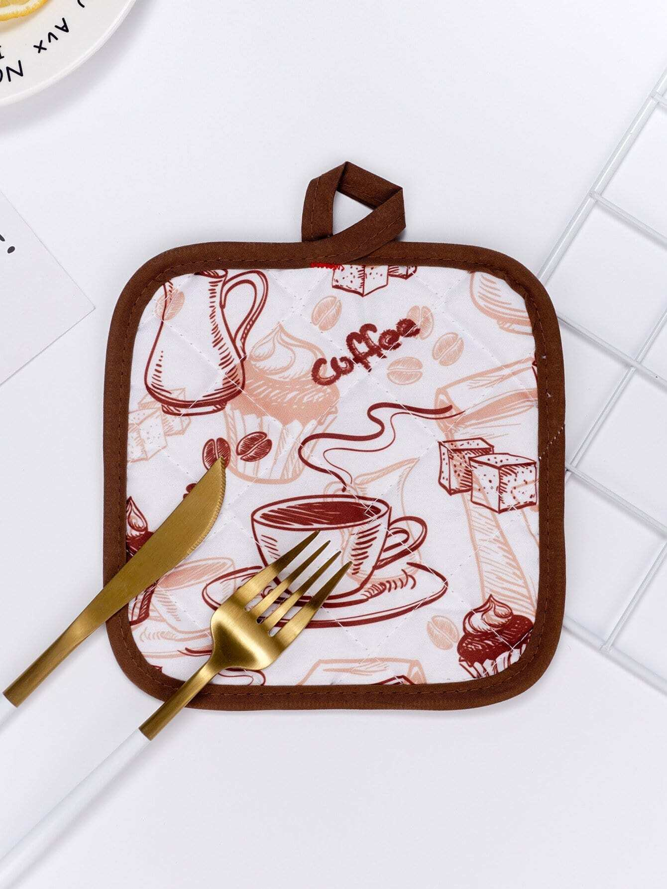 Coffee & Cake Print Table Mat promotional european antique wooden round table coffee table small round table coffee table
