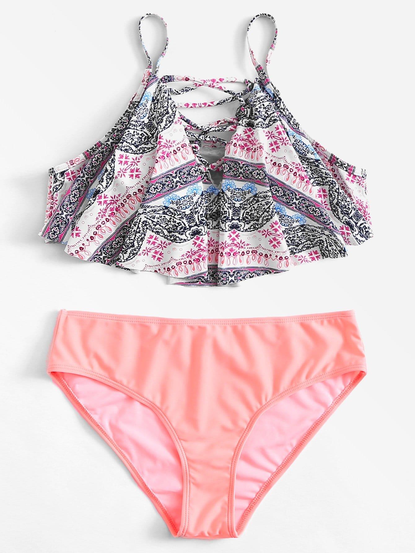 Plus Strappy Bikini Set watercolor strappy bikini set