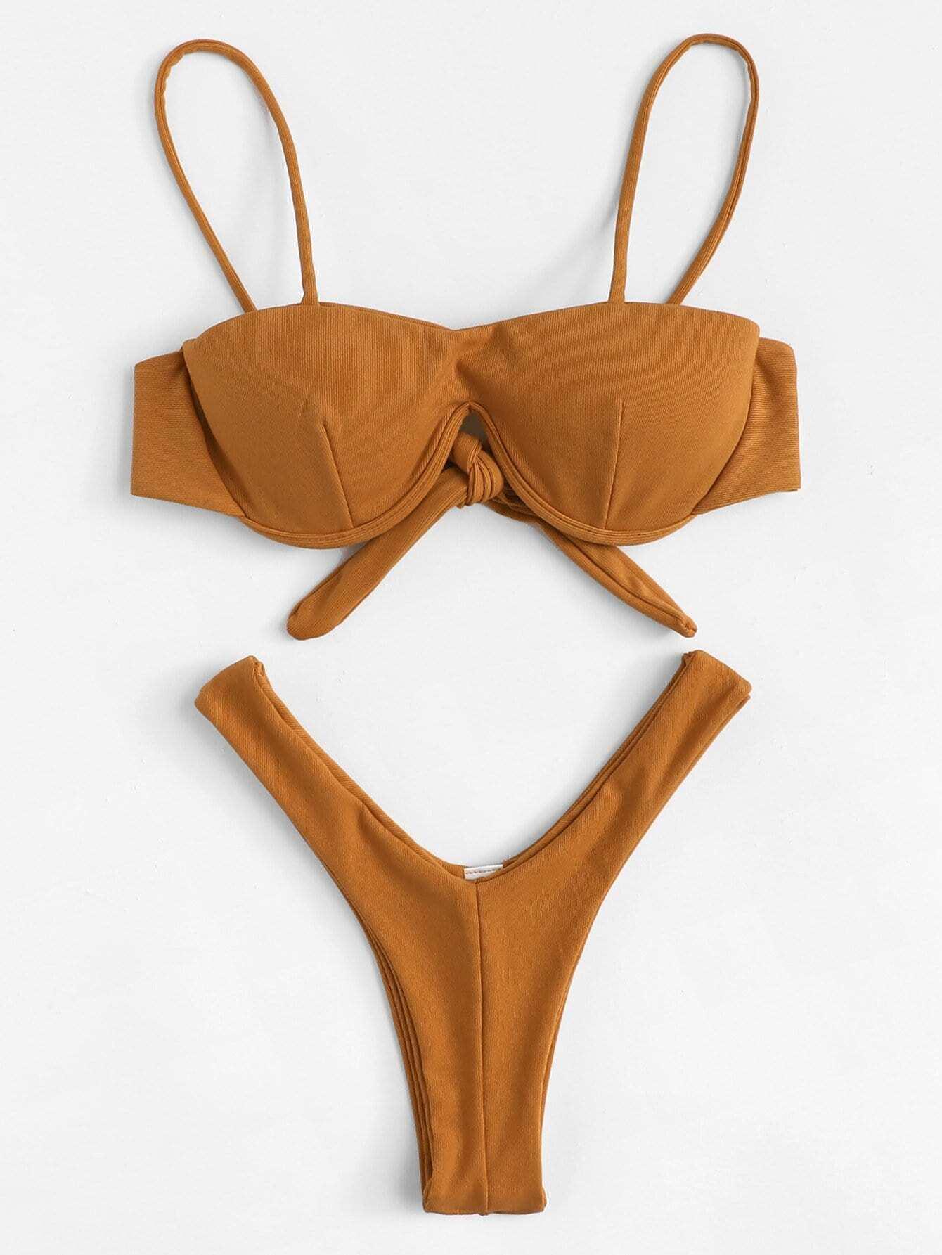 Knot Back High Leg Bikini Set knot back solid bikini set