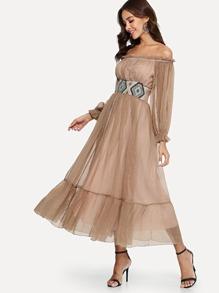 Off-Shoulder Mesh Dress