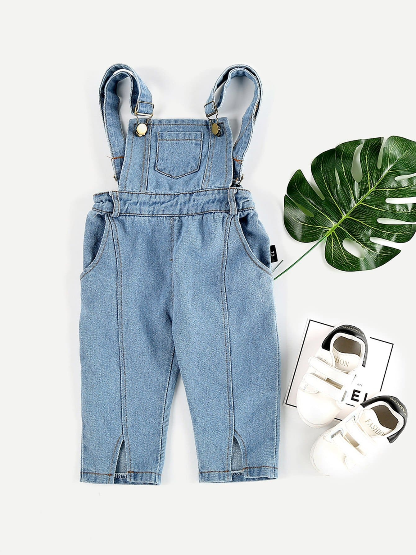 Girls Pocket Front Split Denim Overalls 2018 new spring girls children denim jeans jumpsuit overalls pants striped t shirt tracksuit sets for teenagers girls kids 71