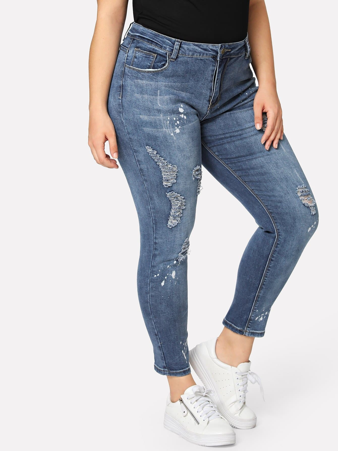 Plus Ripped Skinny Jeans summer boyfriend jeans for women hole ripped white lace flowers denim pants low waist mujer vintage skinny stretch jeans female