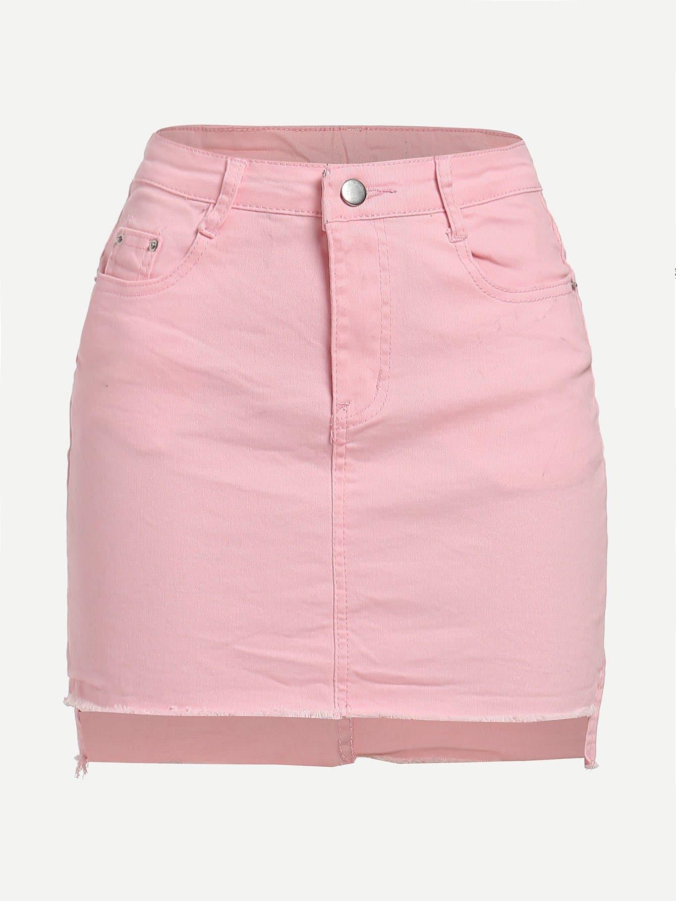 Raw Hem Asymmetrical Denim Skirt