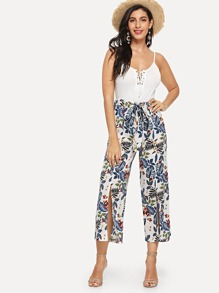 Lace Up Cami With Wide Leg Leaf Print Pants