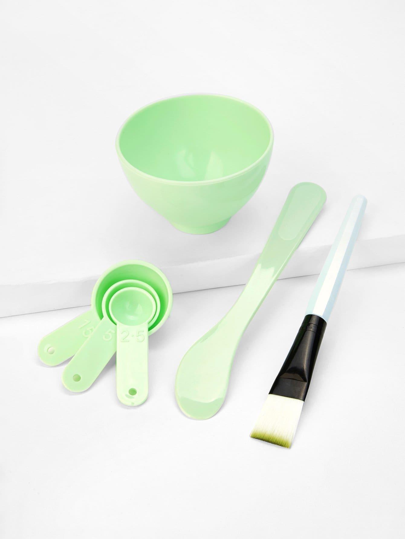 DIY Facial Mask Bowl 6pcs 4 in 1 diy facial mask maker set mixing bowl stick brush measuring spoons blue white