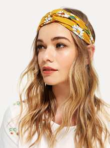 Flower Print Twist Headband
