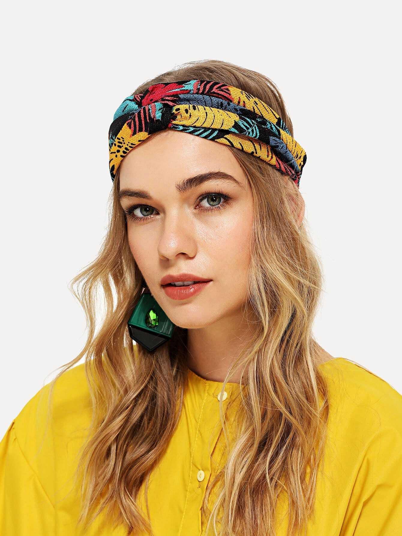 Купить Jungle Print Twist Headband, null, SheIn