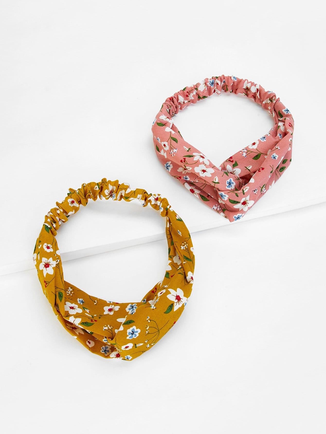 Купить Calico Print Twist Headband 2pcs, null, SheIn