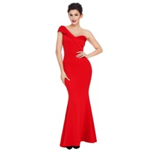 One Shoulder Foldover Fishtail Maxi Formal Dress