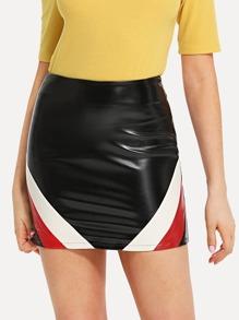 Stripe Contrast PU Skirt