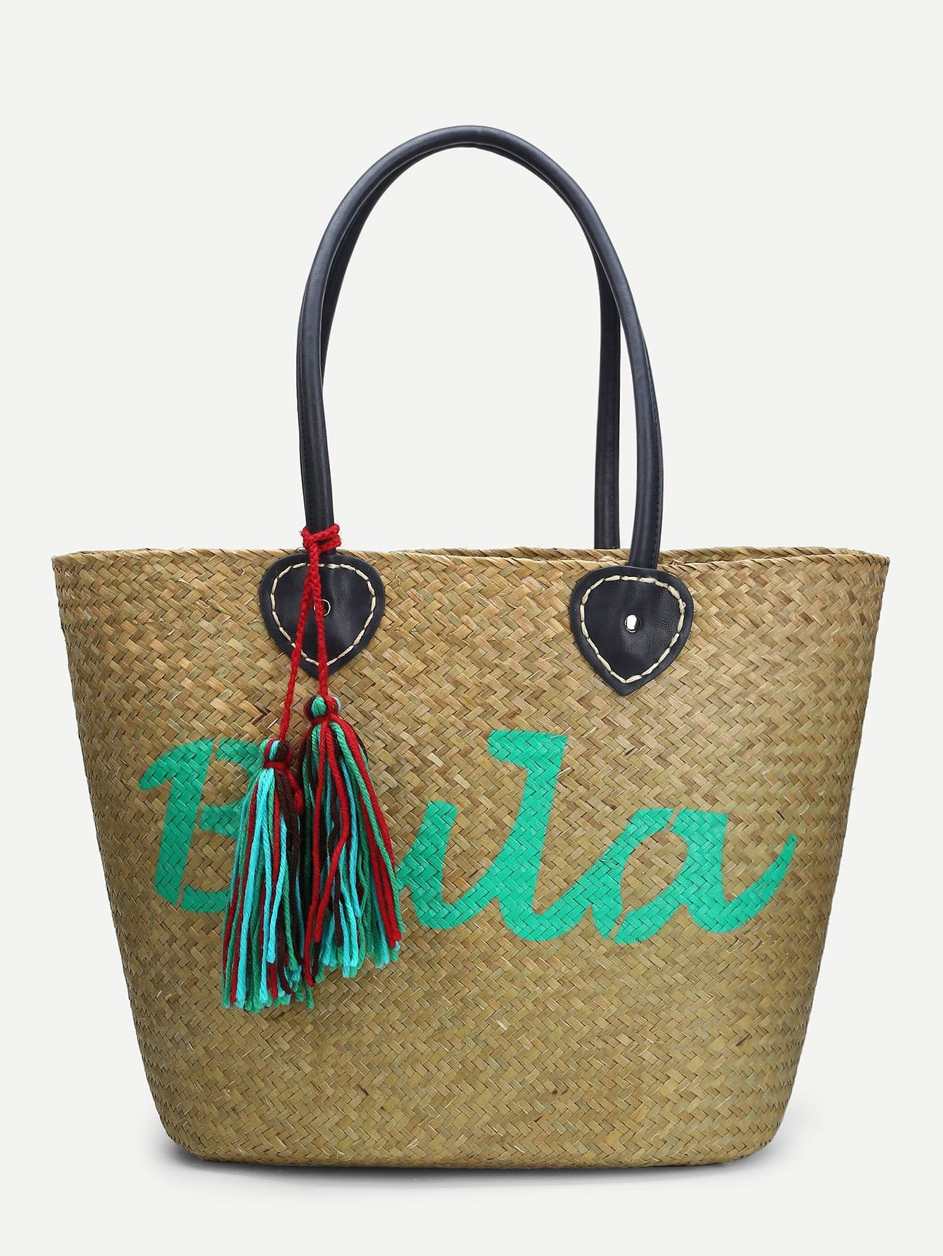 Woven Tote Bag With Double Tassel woven bag with double handle