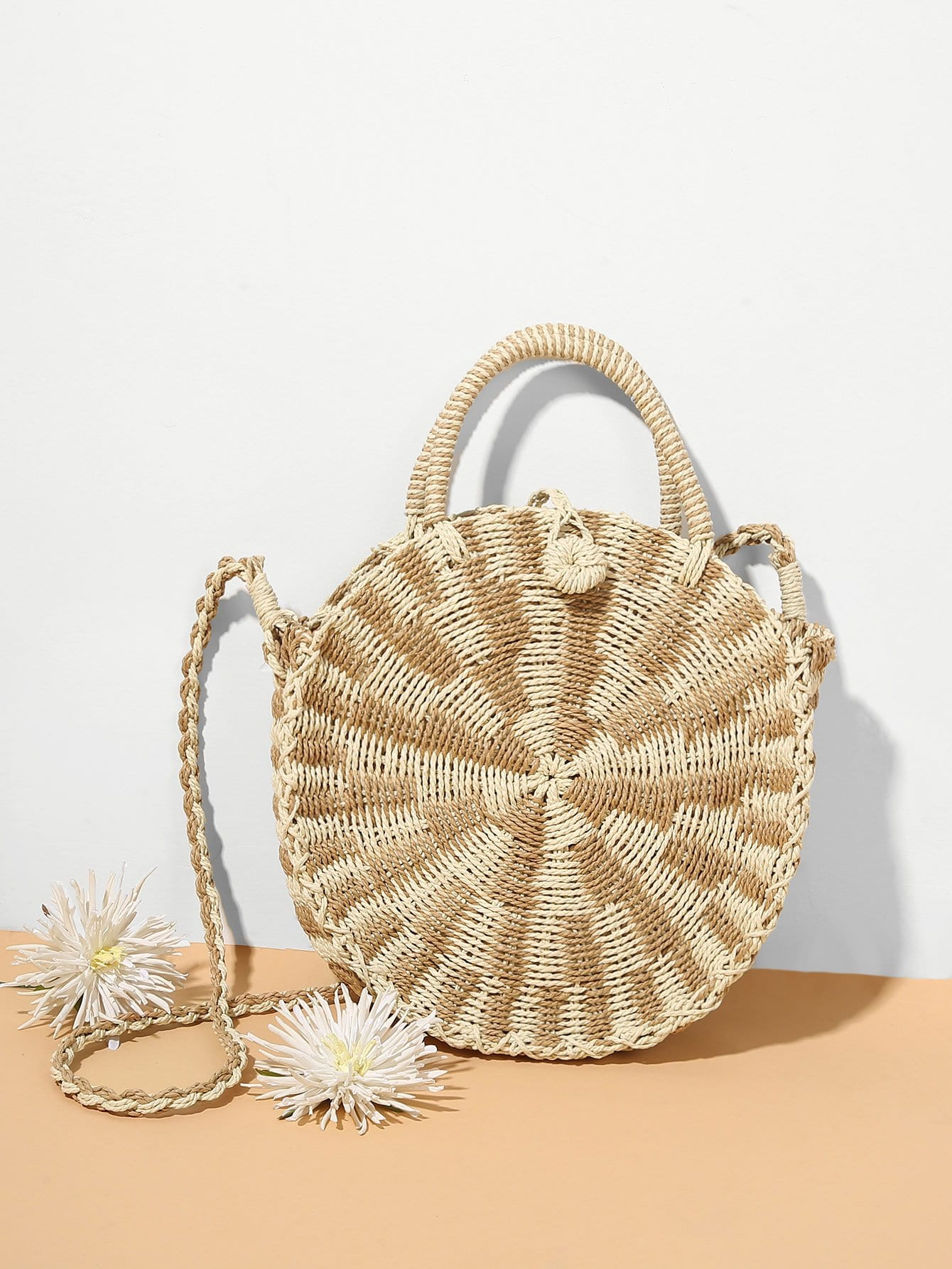 Woven Design Round Bag With Handle woven bag with double handle