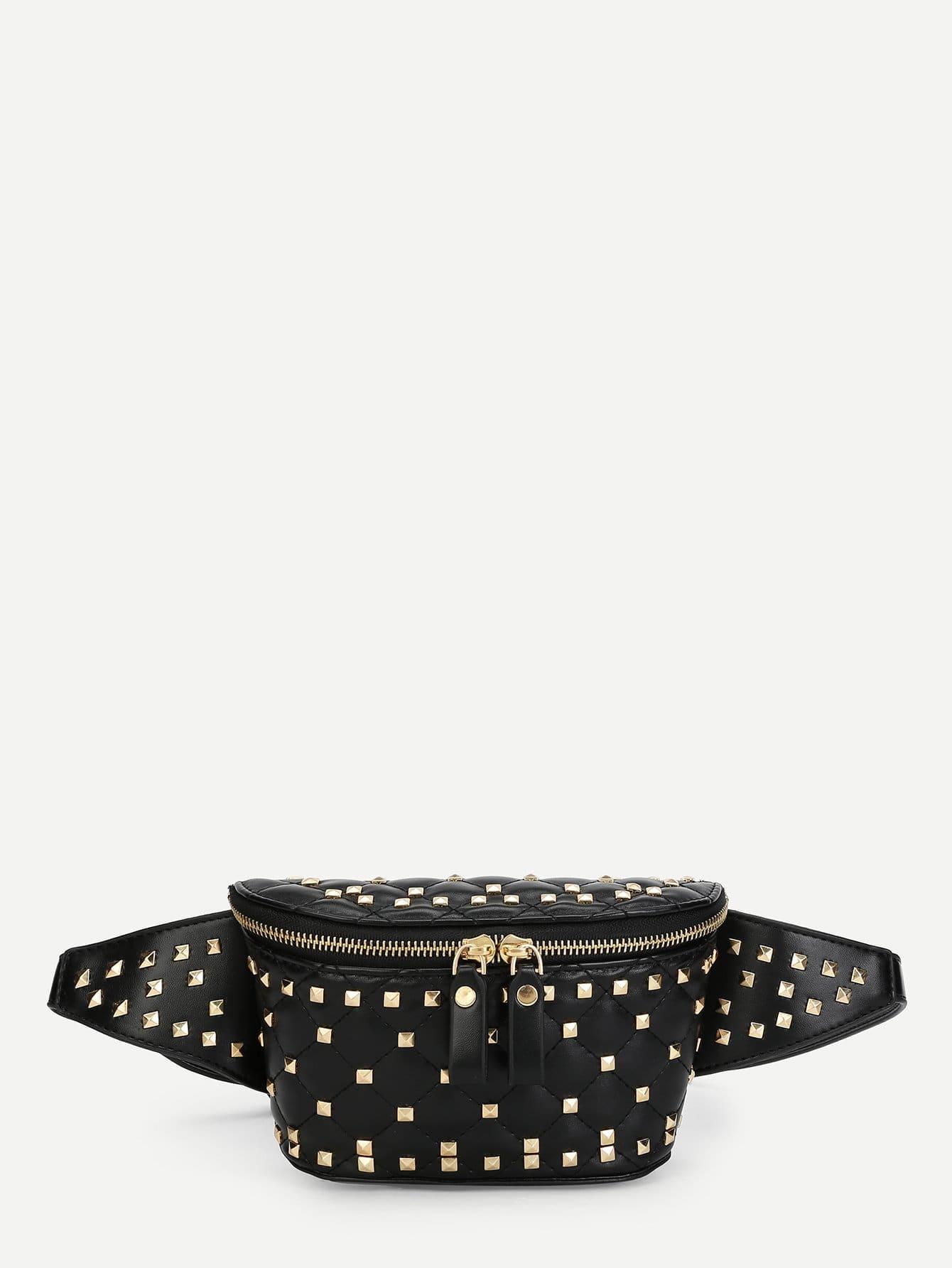 Купить Шипованная украшенная двойная сумка с застежкой-молнией, null, SheIn