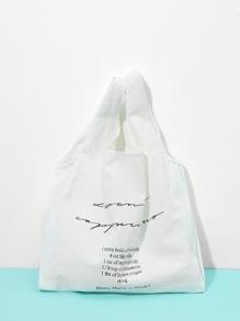Letter Print Double Handle Bag
