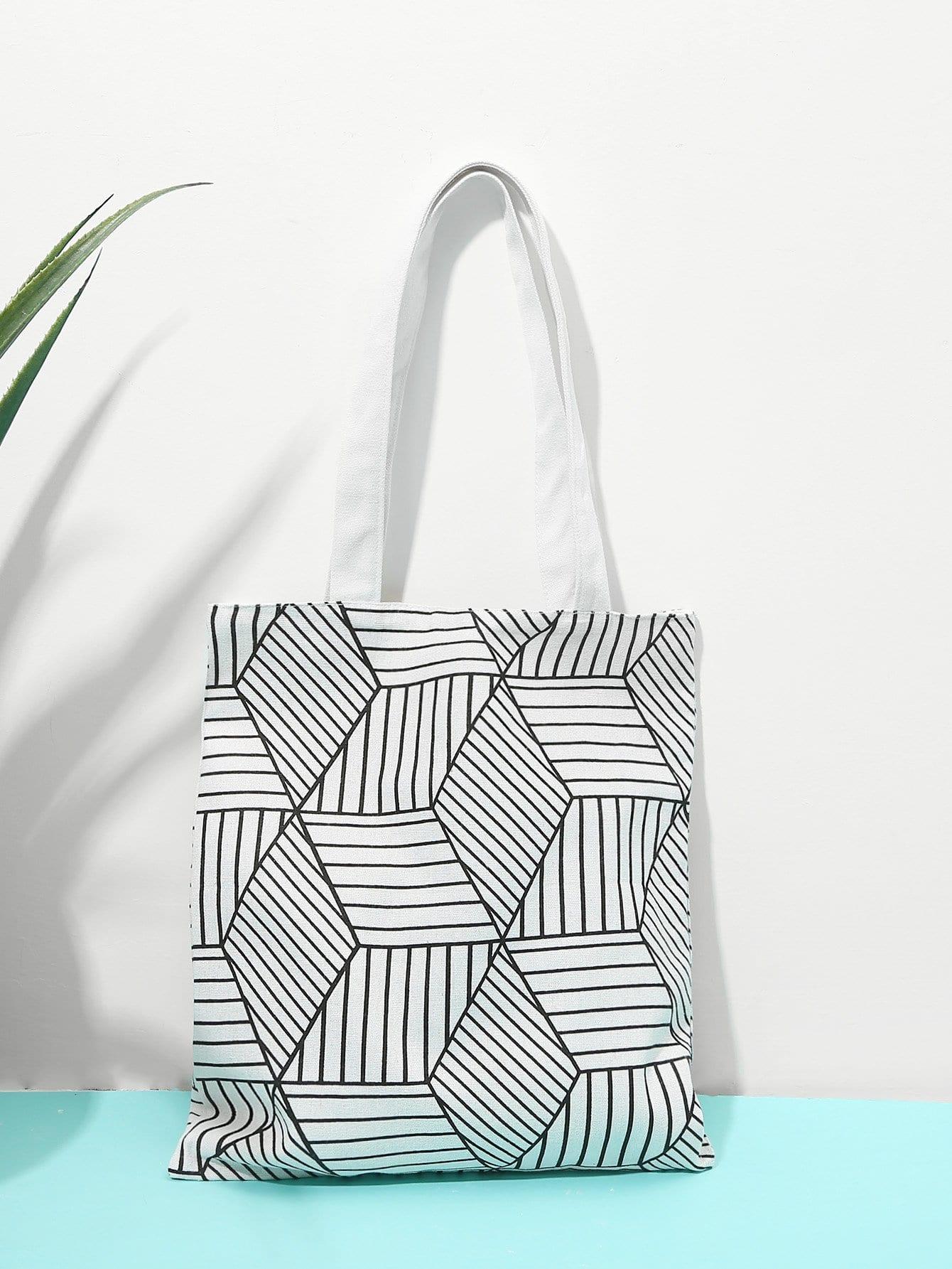 Geometric Print Tote Bag heel print tote bag