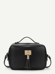 Tassel Decorated PU Crossbody Bag