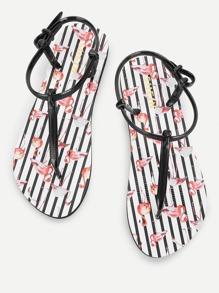 Flamingo Print Toe Post Flat Sandals