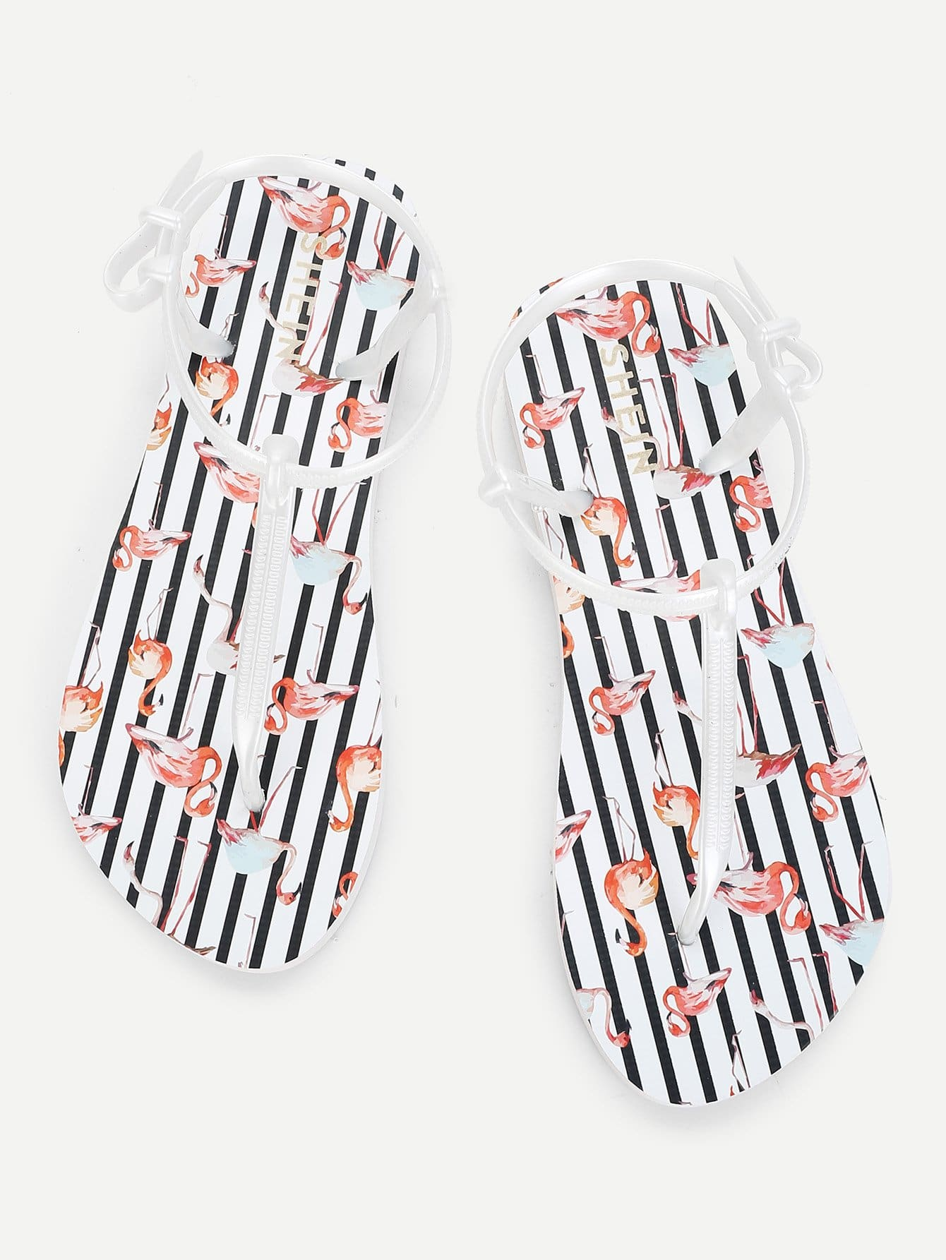 Купить Плоские сандалии с фламинго, null, SheIn