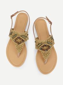 Rhinestone Detail Toe Post Flat Sandals
