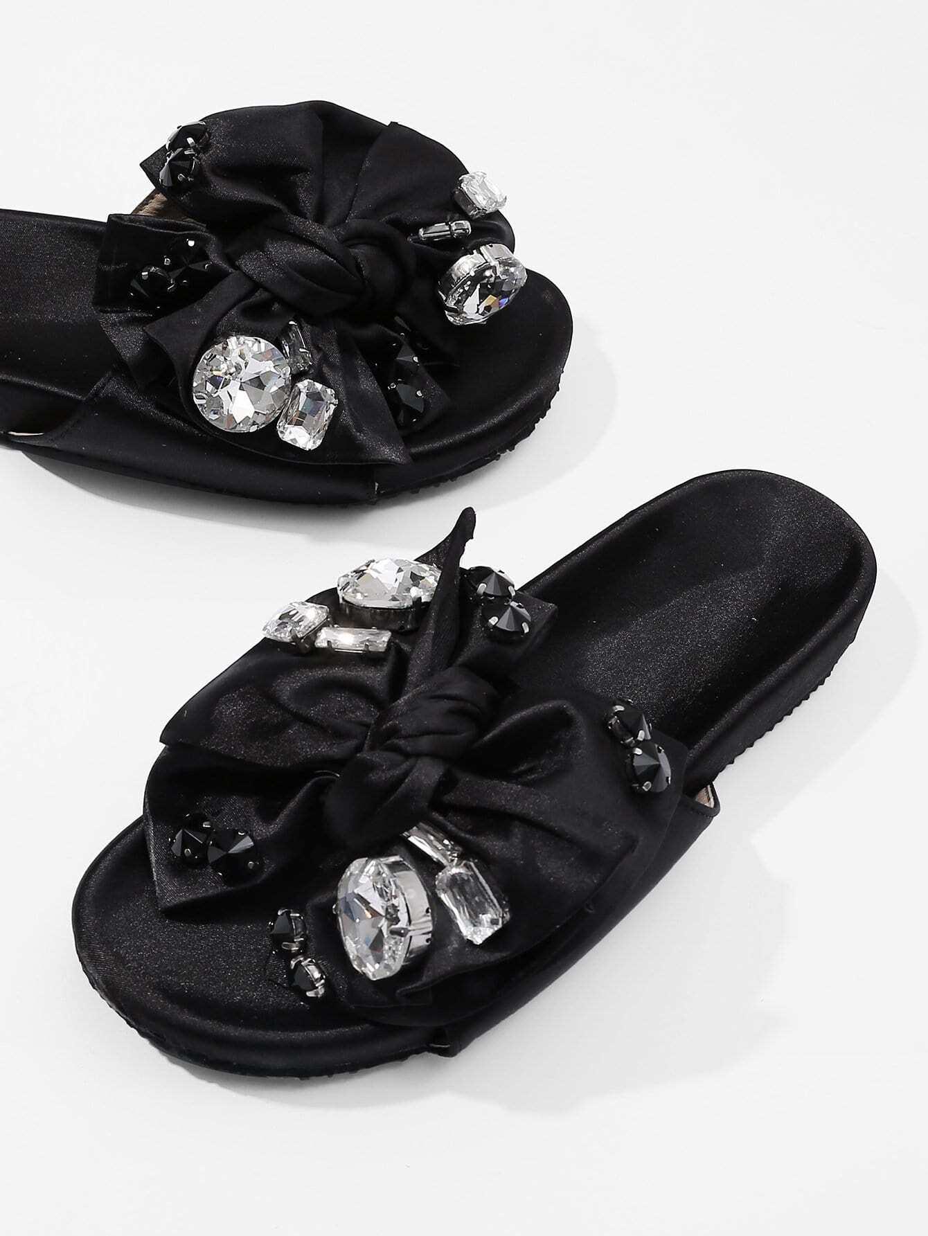 Купить Лук дизайн плоские сандалии с Rhinestone, null, SheIn