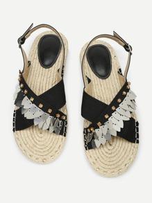 Rhinestone Detail Slingback Flat Sandals