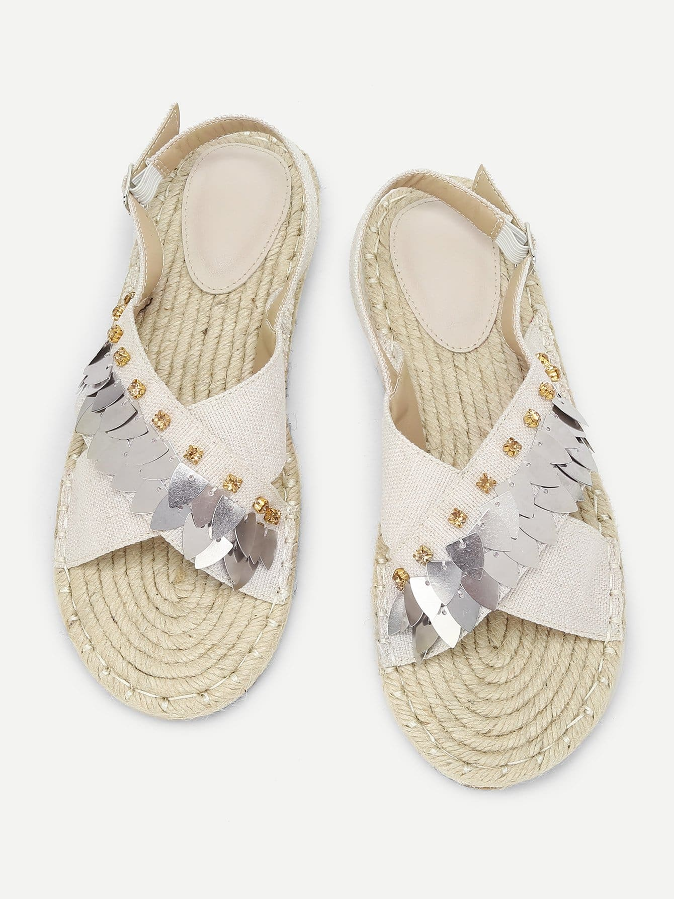 Купить Rhinestone Detail Slingback Flat Sandals, null, SheIn