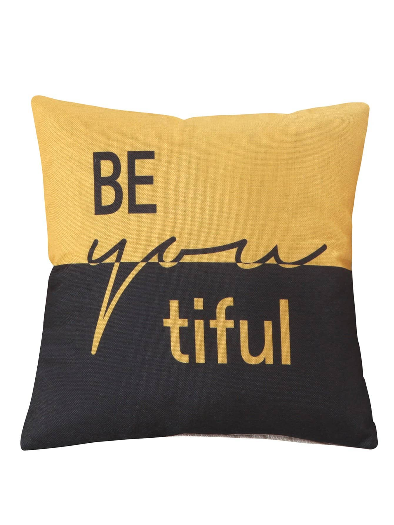 Contrast Letter Pillowcase Cover 1PC
