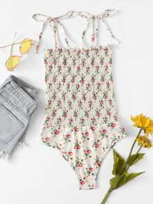 Frill Trim Floral Cami Bodysuit