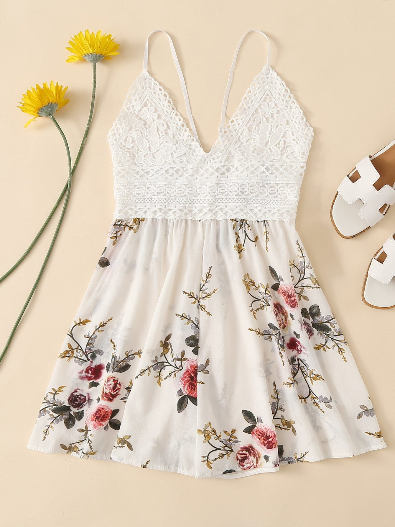 Contrast Lace Knot Back Floral Cami Romper