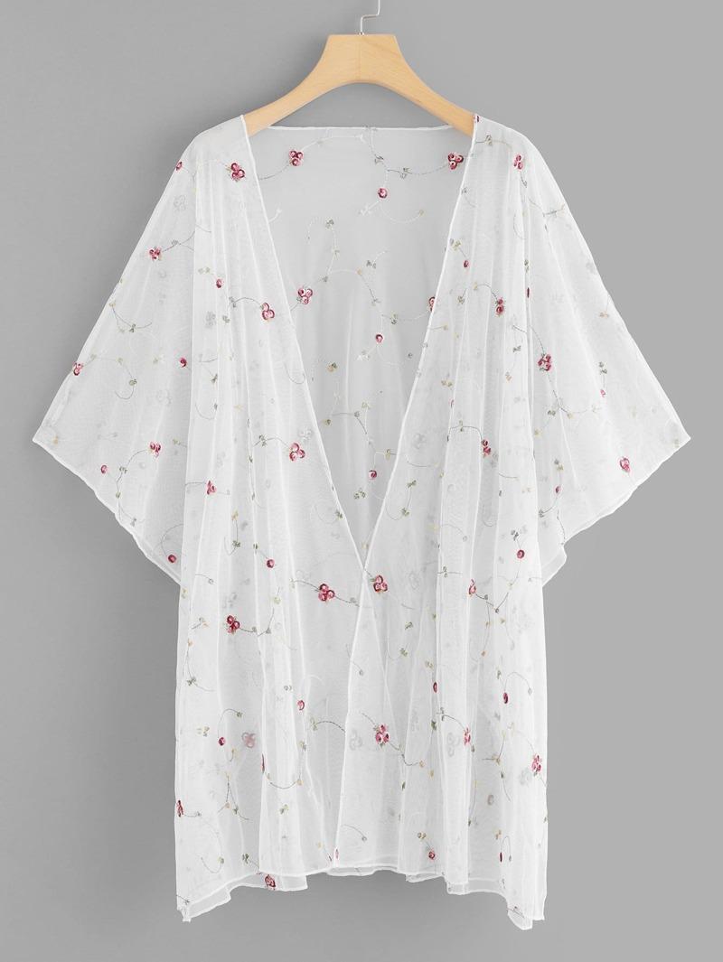 Floral Sheer Kimono, Beige