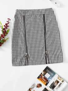Gingham Print Zipper Skirt