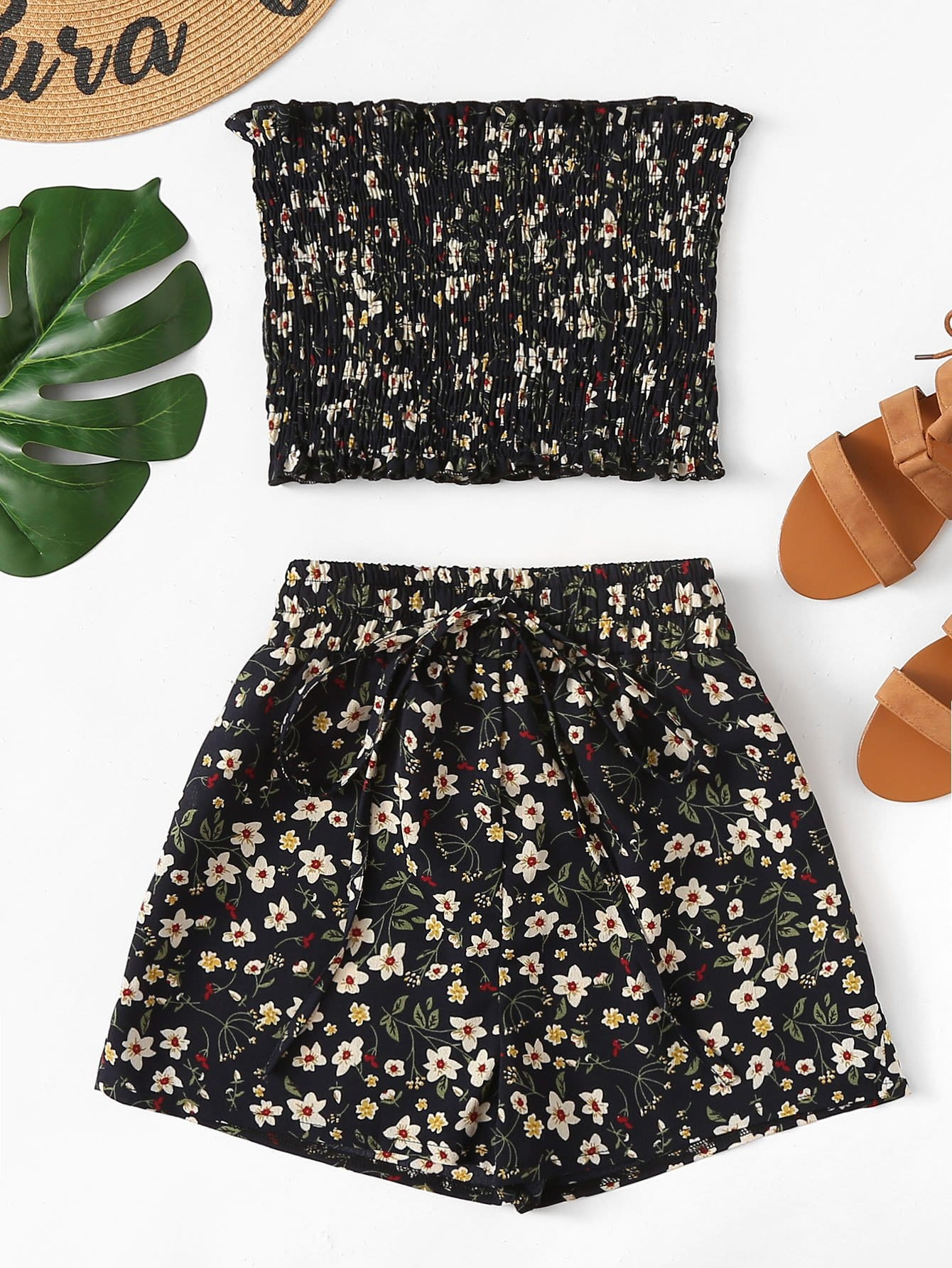 Frill Trim Floral Tube Top With Shorts frill trim floral smock tube top