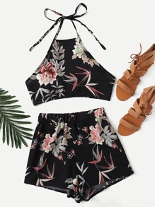Floral Halter Top With Shorts