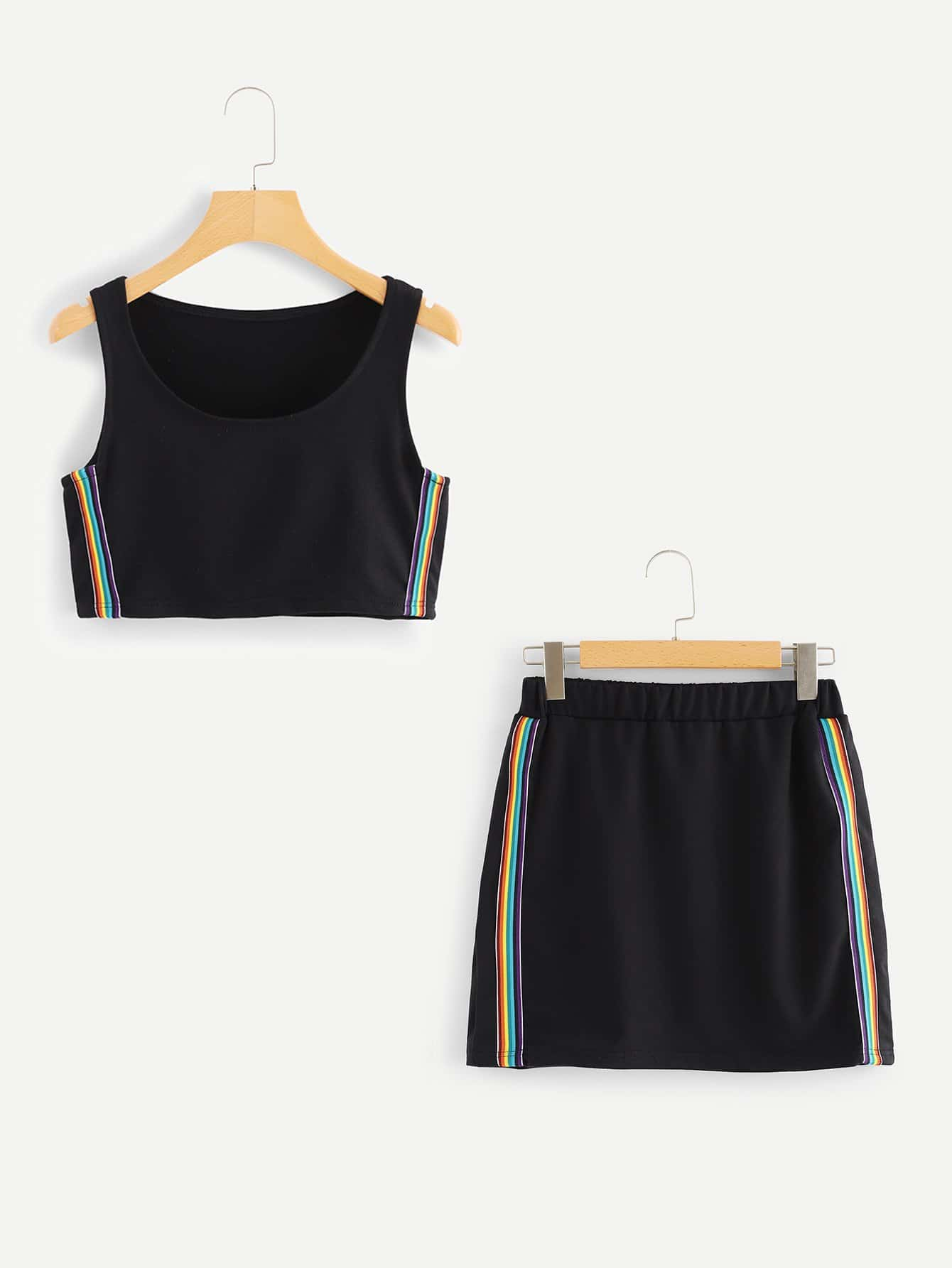 Colorful Striped Tape Side Top With Skirt