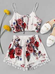 Floral Knot Contrast Lace Ruched Waist Two-piece Outfit