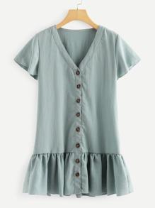 Button Detail Ruffle Hem Dress